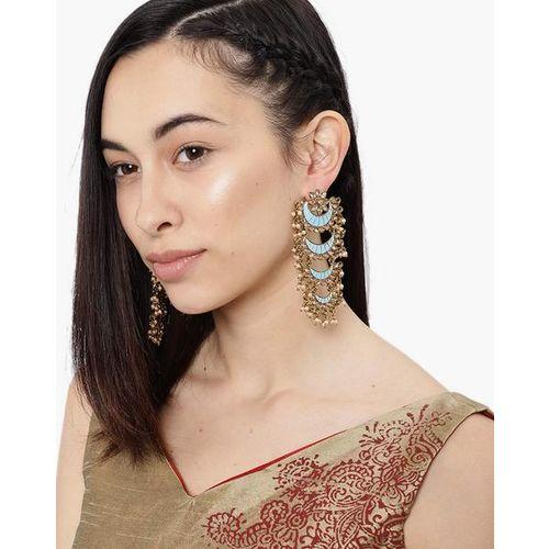 ZAVERI PEARLS Classic Enamelled Layered Chandbali Earrings-ZPFK8786