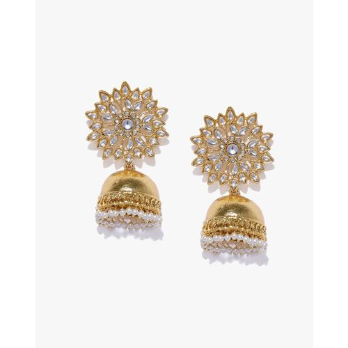 ZAVERI PEARLS Kundan & Pearls Traditional Jhumki Earrings - ZPFK9304
