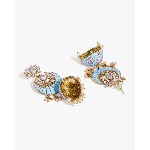 ZAVERI PEARLS Classic Enamelled Jhumki Earrings-ZPFK8785