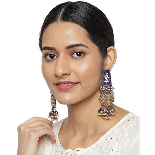 ZAVERI PEARLS Stone-Studded Dangler Earrings-ZPFK9220
