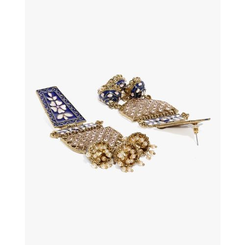 ZAVERI PEARLS Stone-Studded Dangler Earrings-ZPFK9220