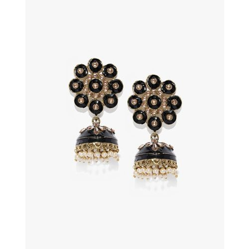 ZAVERI PEARLS Stone-Studded Jhumkas with Beads-ZPFK9218