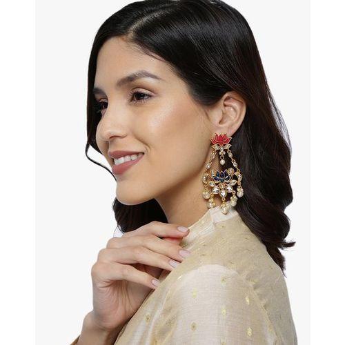 ZAVERI PEARLS Lotus Design Enamel Traditional Drop Earrings-ZPFK8892