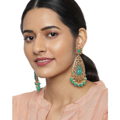 ZAVERI PEARLS Stone-Studded Drop Earrings with Beads-ZPFK9186