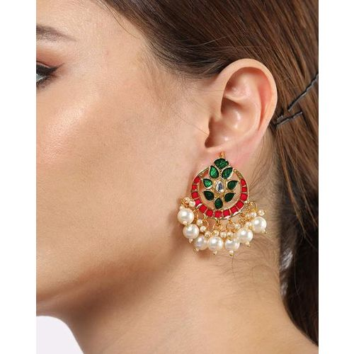 ZAVERI PEARLS ZPFK8814 Enamelled Chandbali Earrings with Pearl Drops