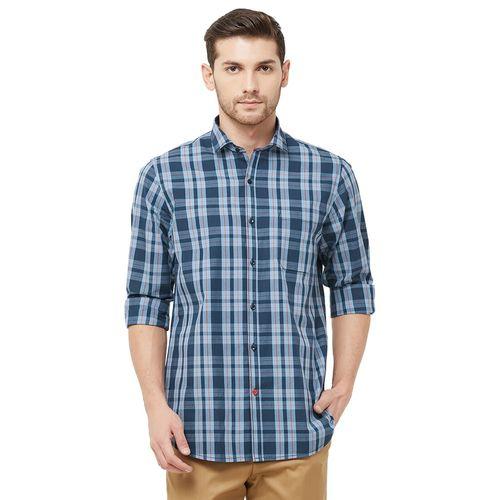 Solemio blue checkered casual shirt