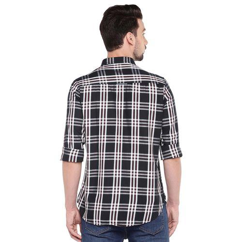 Globus black slim fit checked casual shirt