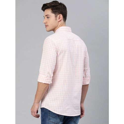 I-VOC pink checkered casual shirt