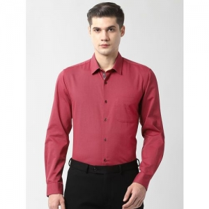 Peter England pink self design formal shirt
