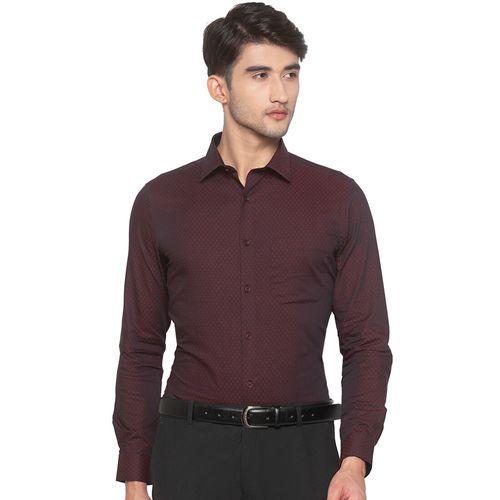 Globus red self design formal shirt