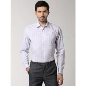 Peter England white checkered formal shirt