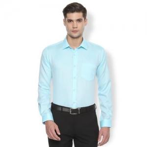 Van Heusen light blue self design formal shirt