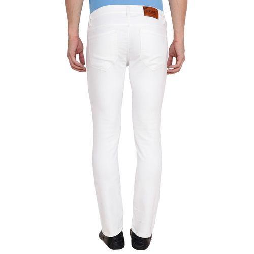 Trend white denim slash knee jeans