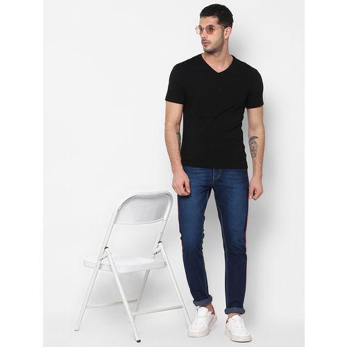 Urbano Fashion dark blue side taped stretchable jeans