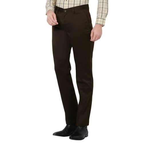 Peter England green cotton flat front trousers formal