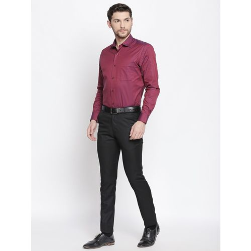 Solemio black solid flat front formal trouser