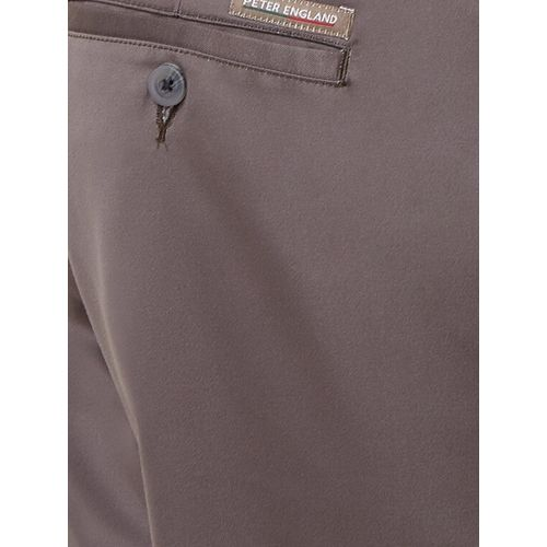 Peter England grey polyester blend flat front formal trouser