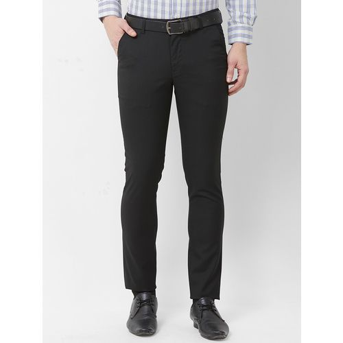 Solemio black checkered flat front formal trouser