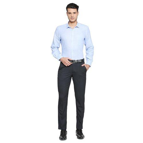 Peter England black polyester blend flat front formal trouser