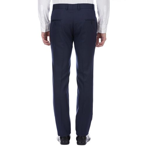 Tahvo blue polyester flat front trousers formal