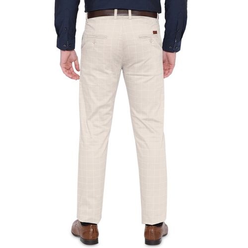 Hancock beige checkered flat front formal trouser