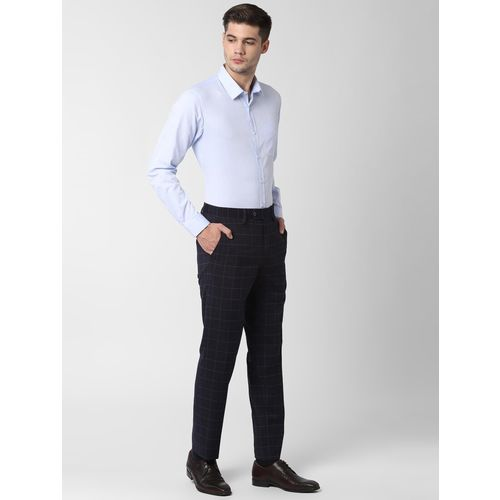 Peter England navy blue checkered flat front formal trouser