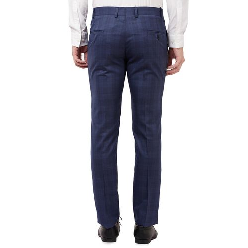 Tahvo blue checkered flat front formal trouser