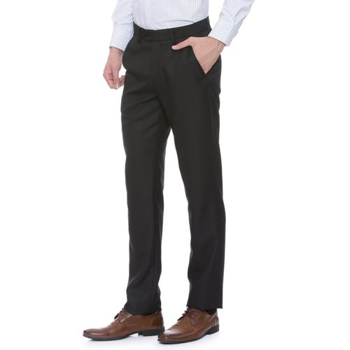 Peter England black polyester blend flat front trouser