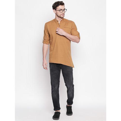 Roller Fashions brown solid asymmetric kurta