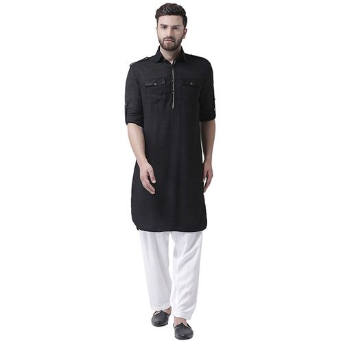I KNOW black cotton blend pathani kurta