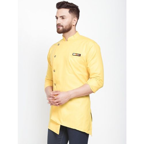 BENSTOKE yellow solid asymmetric short kurta