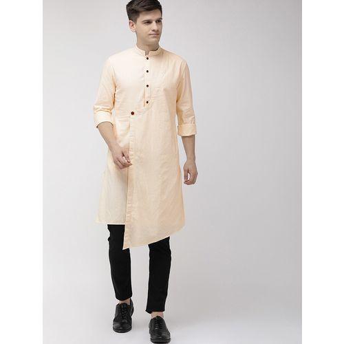 The Indian Garage Co yellow checkered asymmetric kurta