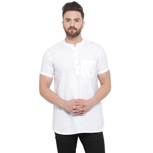 Abhiyuthan white solid short kurta