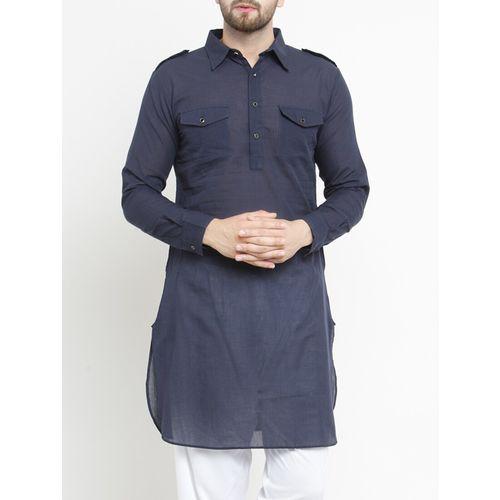 Purple State navy blue solid pathani kurta