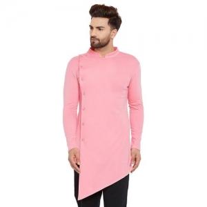Hypernation pink solid asymmetric kurta