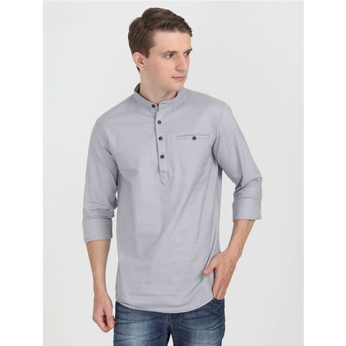 Carbonn Blue grey solid short kurta