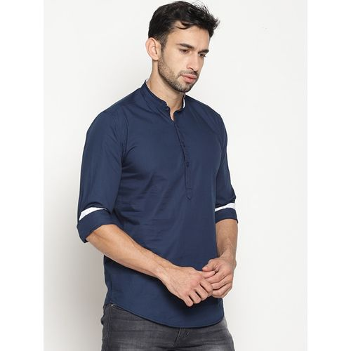 I-VOC navy blue cotton short kurta