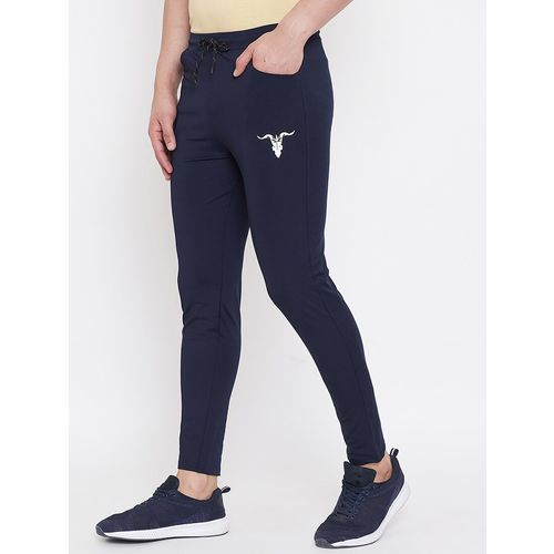 YOGAIR navy blue solid full length track pant