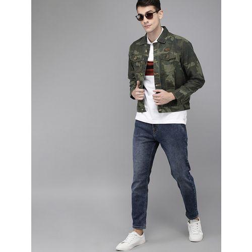 Solid Styles green printed denim jacket