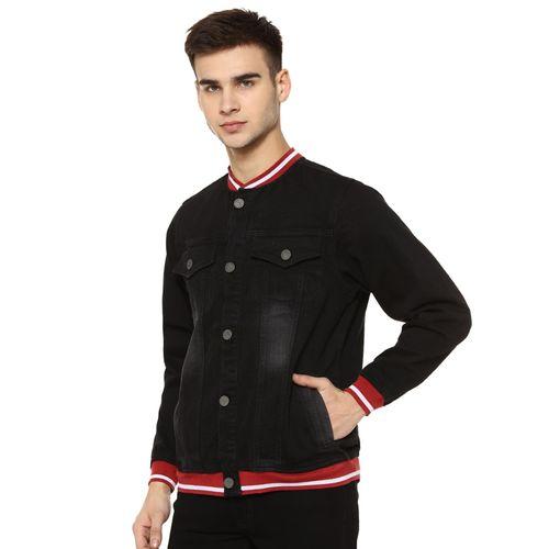 Campus Sutra black washed denim jacket