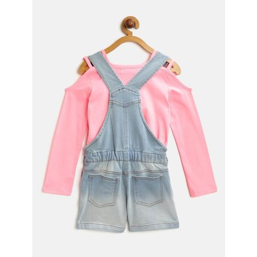 Nauti Nati Girls Blue & Pink Solid Top with Denim Dungarees