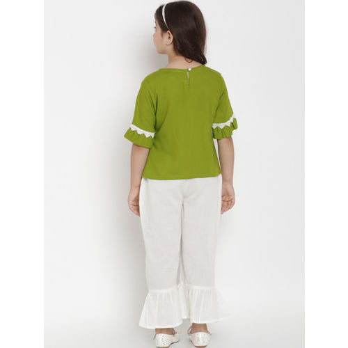Bitiya by Bhama Girls Green & White Solid Top with Trousers