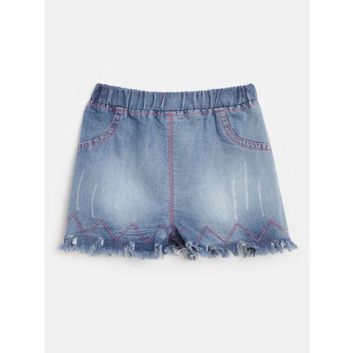 Nauti Nati Girls White & Blue Printed Top with Shorts