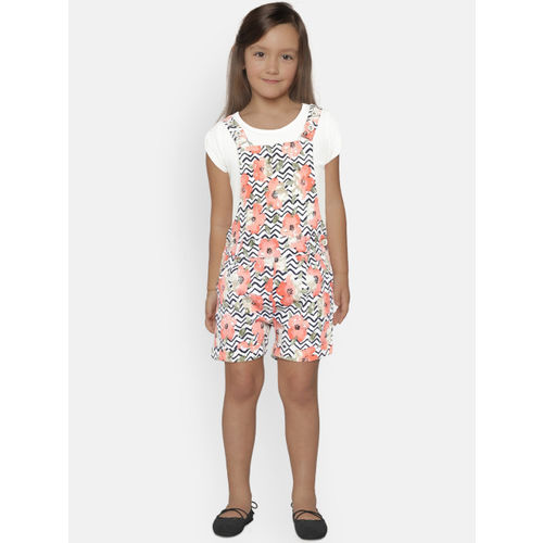 Peppermint Girls Multicoloured Solid T-shirt with Dungarees