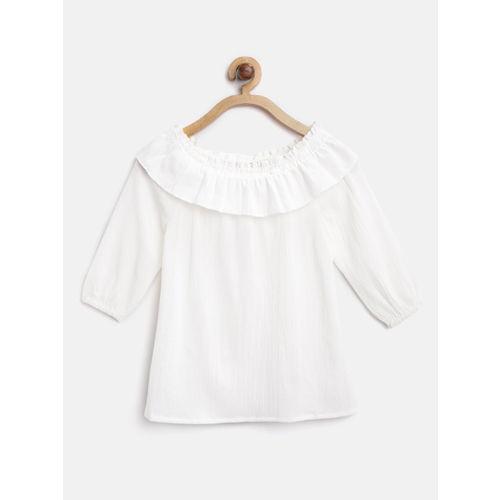 Nauti Nati Girls White & Black Solid Top with Skirt