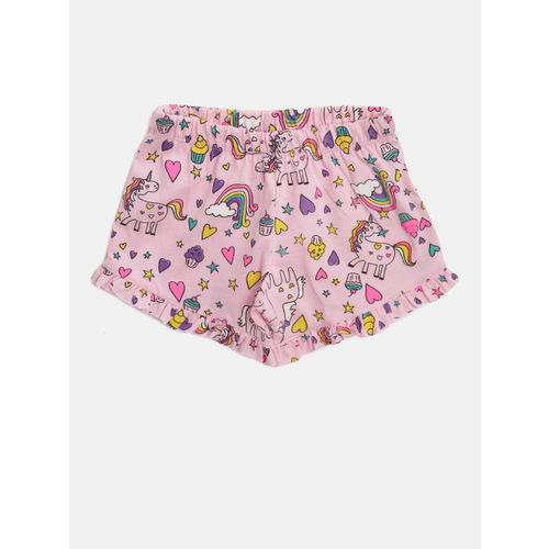 Lazy Shark Girls Grey & Pink Printed T-shirt with Shorts