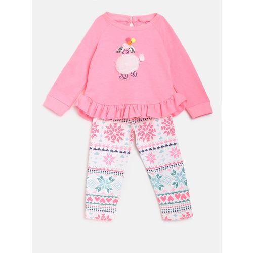 Nauti Nati Girls Coral Pink & White Applique Top with Pyjamas