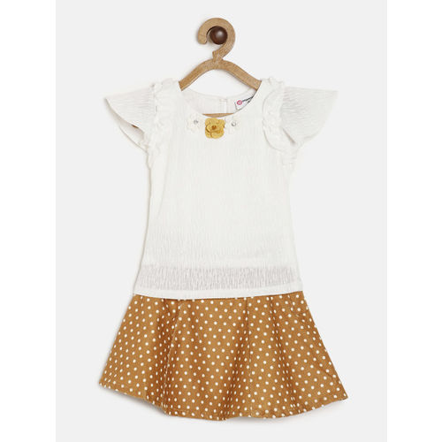 Peppermint Girls White & Brown Solid Top with Skirt