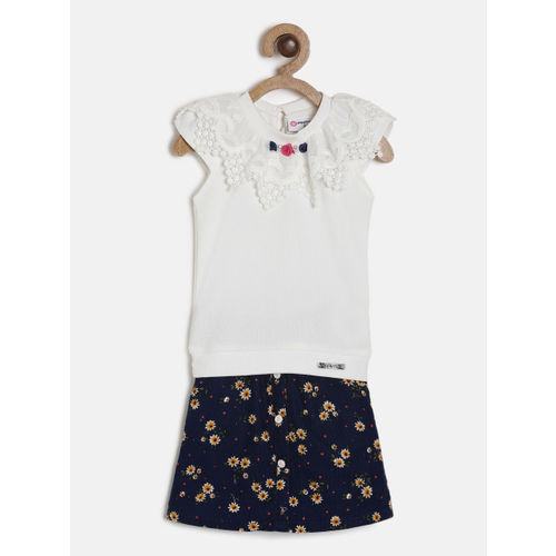 Peppermint Girls White & Navy blue Solid Top with Skirt