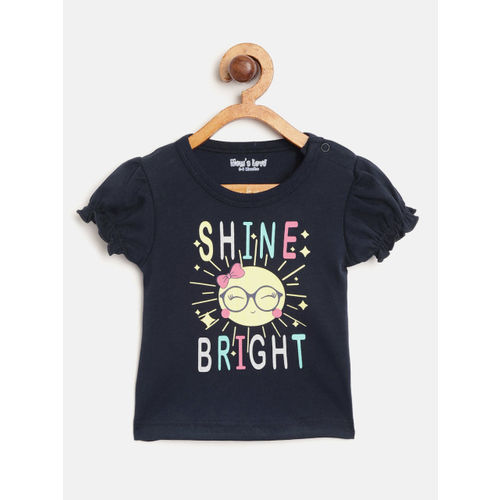 Moms Love Girls Navy Blue & Yellow Printed Top with Shorts